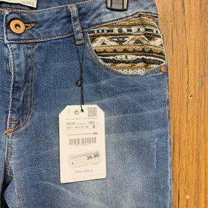 Zara Bottoms - NEW Zara Girls Tribal Patch Slim Jeans 13/14